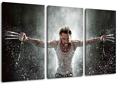wolverine 3-Teilig auf Leinwand, XXL riesige Bilder fertig gerahmt mit Keilrahmen, Kunstdruck auf Wandbild mit Rahmen