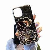 TYWZ Funkeln Handyhülle für Xiaomi Mi 10T,Klar Diamant Glitzer Bling Star Schutzhülle Mädchen Frauen Soft TPU Crystal Hülle-Lächeln Herz,Schwarz