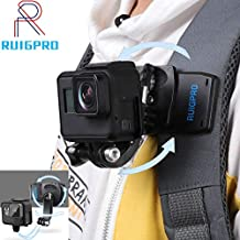RUIGPRO Update Anti-Slide 360 Degree Rotary Action Camera Clamp Mount Kit Waterproof Motion Camcorder Backpack Strap Clip Holder Rec-Mount Compatible with GoPro Sony DJI OSMO Action Akaso SPOR