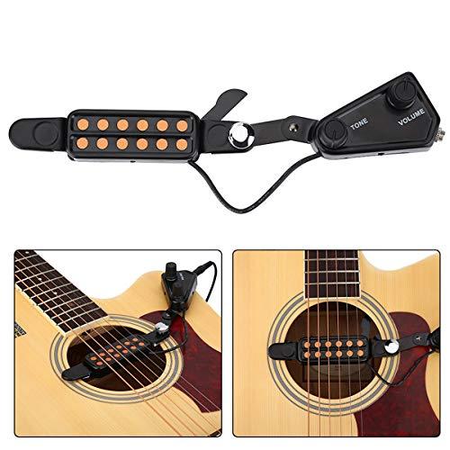 Fsskgx pastilla de guitarra acústica de 12 orificios, micrófono transductor, amplificador de...