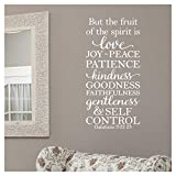 But The Fruit of The Spirit is Love, Joy, Peace, Patience, Kindness, Goodness, Faithfulness.Galatians 5:22-23 Vinyl Lettering Wall Decal Sticker (26' H x 12.5' W, White)