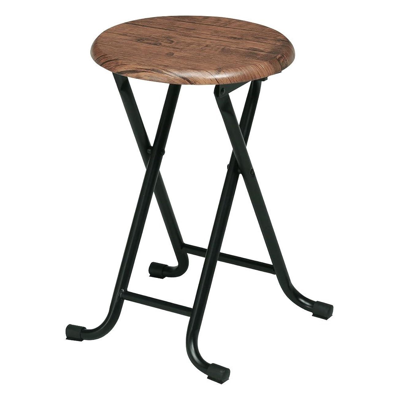 主張するモーテル楽しませるぼん家具 折りたたみチェア 軽量 木目調 丸型 スツール コンパクト 1人用 パイプ椅子 丸椅子 チェア 椅子 おしゃれ ブラウン