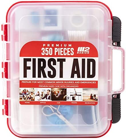M2 BASICS 350 Piece Emergency First Aid Kit Dual Layer Wall Mountable Medical Supplies for Business product image