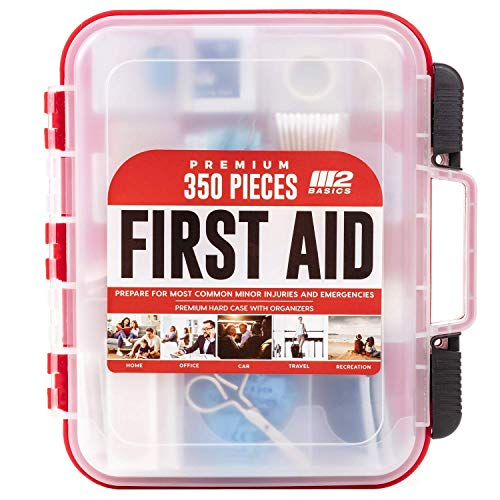 M2 BASICS 350 Piece Emergency First Aid Kit   Dual Layer, Wall Mountable, Medical Supplies for Business, School, Car or Home