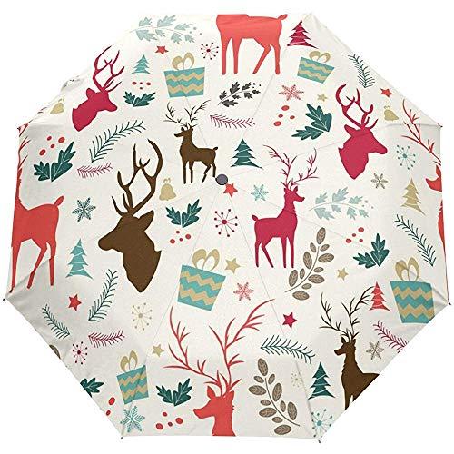Vintage Merry Christmas Elk Deer Auto Open Close Sun Rain Umbrella