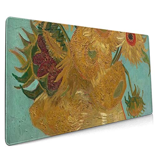 Vincent Willem Van Gogh, 1889, Zonnebloemen _ Vaas Met Twaalf Zonnebloemen, Olieverf Op Doek Artwork Oversized muismat 40x90 Stick Figuur Stijl Oversized Anti-lip Gaming Mouse Pad Voor Bureau Laptop PC randapparatuur