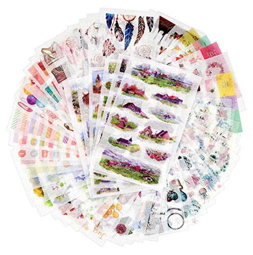 72 Sheets Scrapbooking Stickers Decoration Sticker Planner Stickers Washi Paper Stickers 12 Themes Assorted for Diary Album Bullet Journals DIY Arts and Crafts Journey