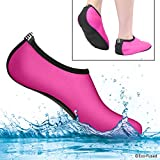 ECO-FUSED Water Socks for Women - Extra Comfort - Protects Against Sand, Cold/Hot Water, UV, Rocks/Pebbles - Easy Fit Footwear- Yoga, Beach, Pool, Volleyball, and More (Medium, Pink & Black)