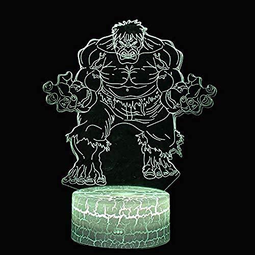 Hulk Theme 3D Lampe LED Nachtlicht 7 Farbwechsel Berühren Sie Mood Lamp Weihnachtsgeschenk-Hulk_Blau