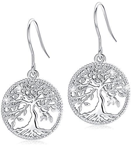 Tree-of-Life-Dangle-Earrings for Women, S925 Sterling Silver Fashion Drop Hook Jewelry Gift