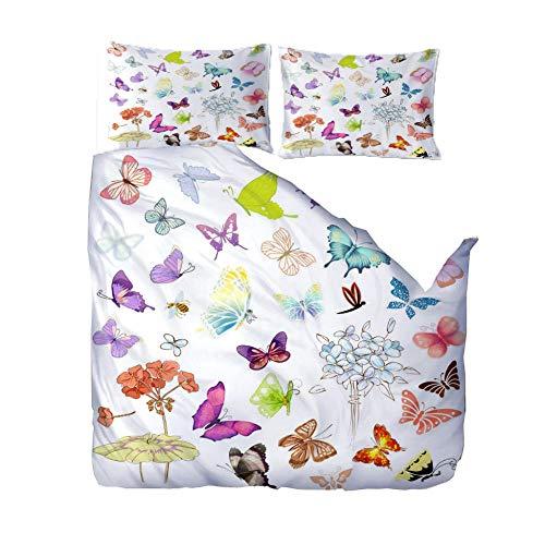 3D duvet cover Super King/220x260cm/86.5x102 inchesColor animal butterfly 3D Designs Duvet Cover With 2 Pillowcases 3D Printed Bedding Set With Zipper Closure Soft Microfiber Double Duvet Cover Set