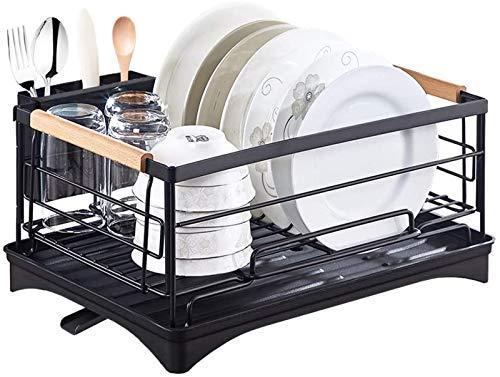 XIAPIA - Rejilla para platos con bandeja de goteo extraíble, rejilla para platos de acero inoxidable, soporte para cubiertos, alfombrilla de secado, secador de platos de cocina para almacenamiento y organización en la cocina