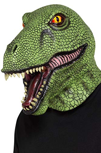 Smiffy's 48960 Dinosaur Latex Mask, Unisex-Adult, Green, One Siz