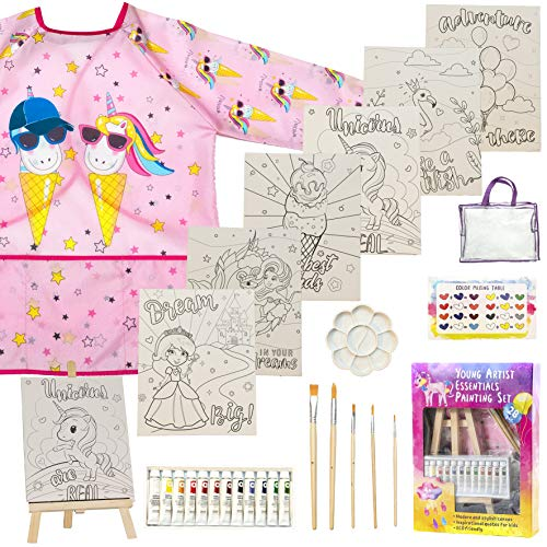 Painting Set For Girls  28 piece Acrylic paint kit premium Young Artist essentials with Wood easel, Non toxic acrylic paint, Paint brushes,Themed canvases, Unicorn smock dress Art Supplies for Drawing