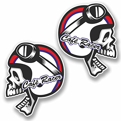 2 x 10cm Cafe Racer Vinyl Sticker Skull Tool Box Motorcycle Bike Biker #9761