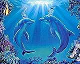 Kit de pintura de diamantes 5D,Delfín azul animal marino Bordado redondo del punto de cruz del diamante del taladro para los niños de los adultos, para la decoración casera
