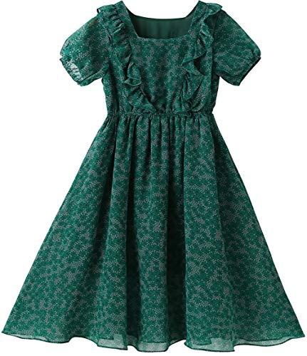 Vestidos de niñas, Vestidos de Gasa, Vestidos de Verano de Verano para niños, Desgaste Infantil (Verde) Green- 140cm