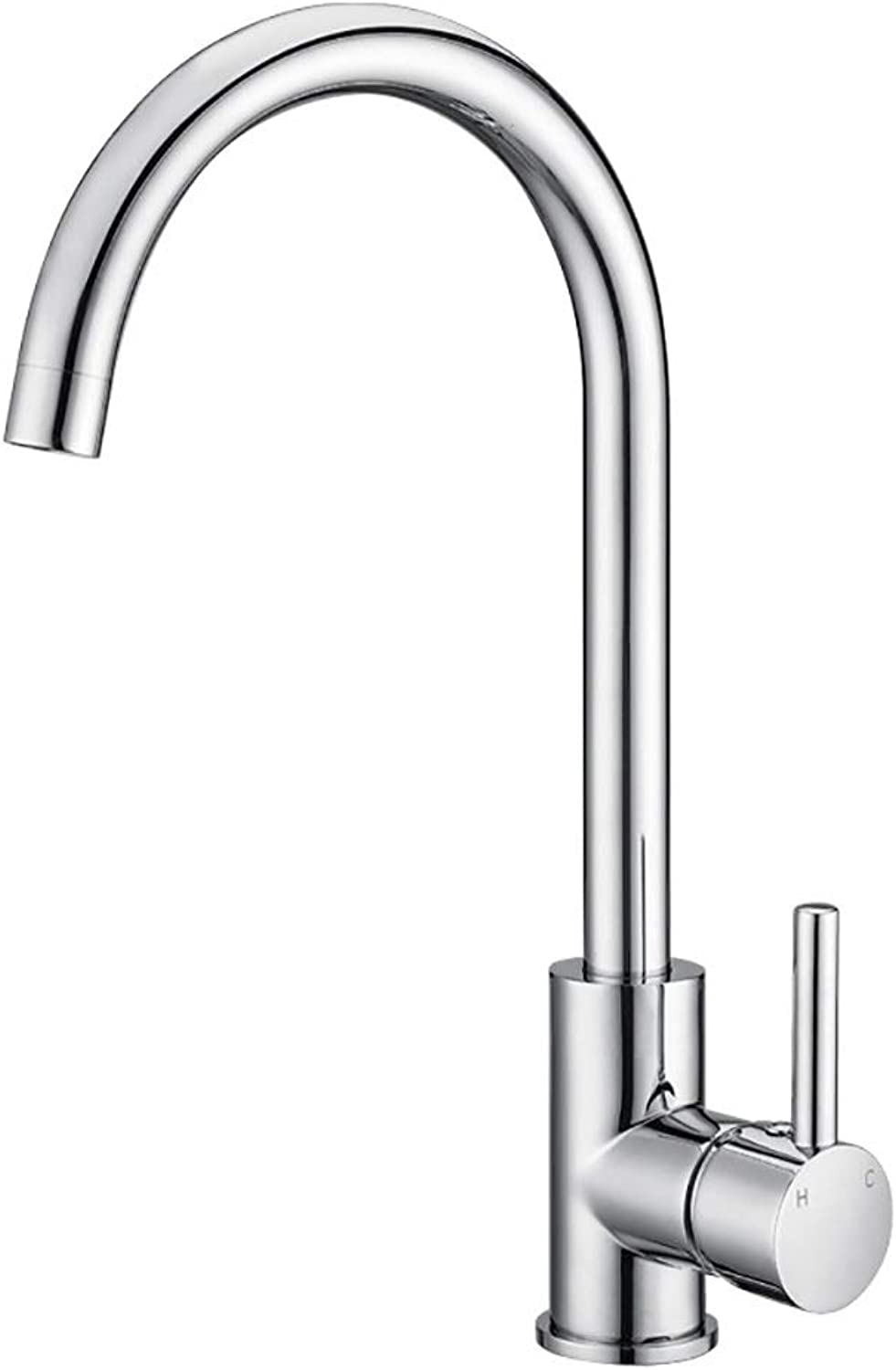WYRSXPY Basin Tap Kitchen Faucet Brass Single Handle 360° Swivel Kitchen Sink Tap Hot And Cold Water Tap (color   Silver)