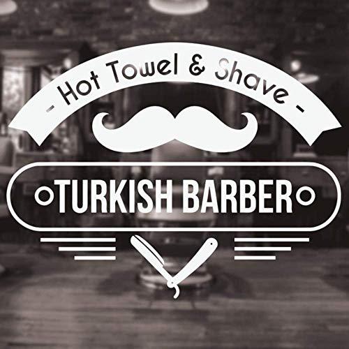 Türkischer Friseursalon Aufkleber Dekor Haarschnitte Poster Frisur Vinyl Wandfenster Aufkleber Aufkleber Heißes Handtuch Rasierwandbild Muraux 75X57cm