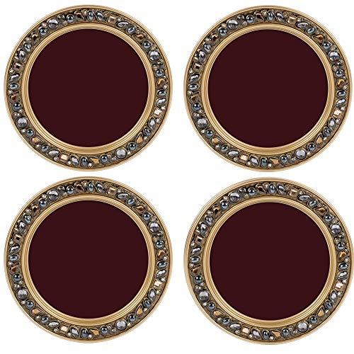 Blank Maroon Amber Goldtone 4.5 x 4.5 Resin Polymer Jeweled Coaster Set of 4