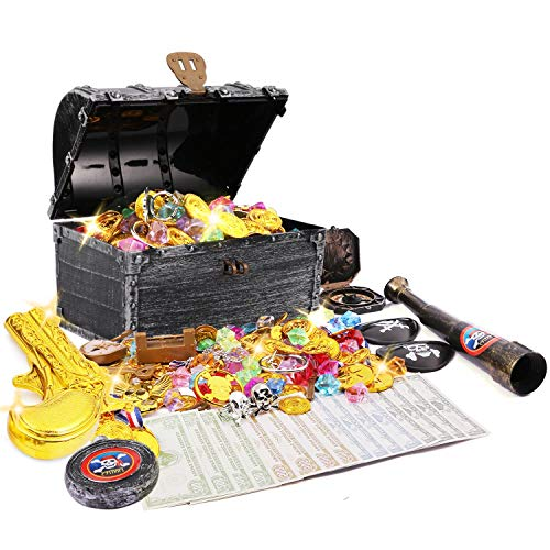JOYUE Piratas del Tesoro Cofre del Tesoro, Diamantes Acrílicos, Monedas Doradas de Pirata, Monedas de Oro y Gemas, Juguete Pirata Niños para Caza, Fiestas Temáticas Piratas