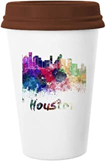 Houston America City Watercolor Mug Coffee Drinking Glass Pottery Ceramic Cup Lid