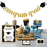 Graduation Decorations 2021 - Candy Bar Buffet Glitter Banner Sign Label Tent Cards Set - Grad Party Supplies Decor for Highschool Prek - Black and Gold