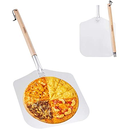 """Premium Aluminum Pizza Peel With Detachable Beech Handle, 12"""" x 32.5"""", Convenient To Store, Good Helper For Baking, Homemade Pizza And Bread"""