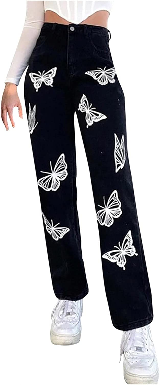 Jeans for Women Y2K Fashion Botton High Waisted, Teen Girls Butterfly Straight Fit Denim Jeans Wide Leg Streetwear Pants