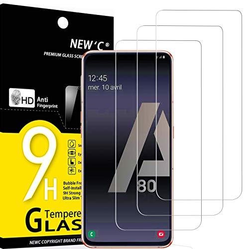 NEW'C 3 Unidades, Protector de Pantalla para Samsung Galaxy A80, Galaxy A90, Antiarañazos, Antihuellas, Sin Burbujas, Dureza 9H, 0.33 mm Ultra Transparente, Vidrio Templado Ultra Resistente