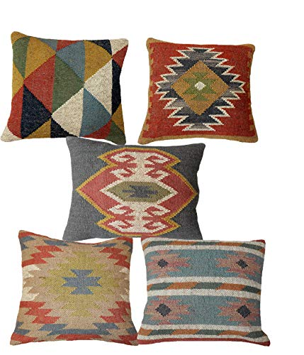 Handicraft Bazarr Set 5 Pcs Oriental Wool Jute Cushion Cover Vintage Kilim Jute Cushion Cover 18'x18' Hand Woven Rug Kelim Square Pillow Case Handwoven Living Room Pillow Sham