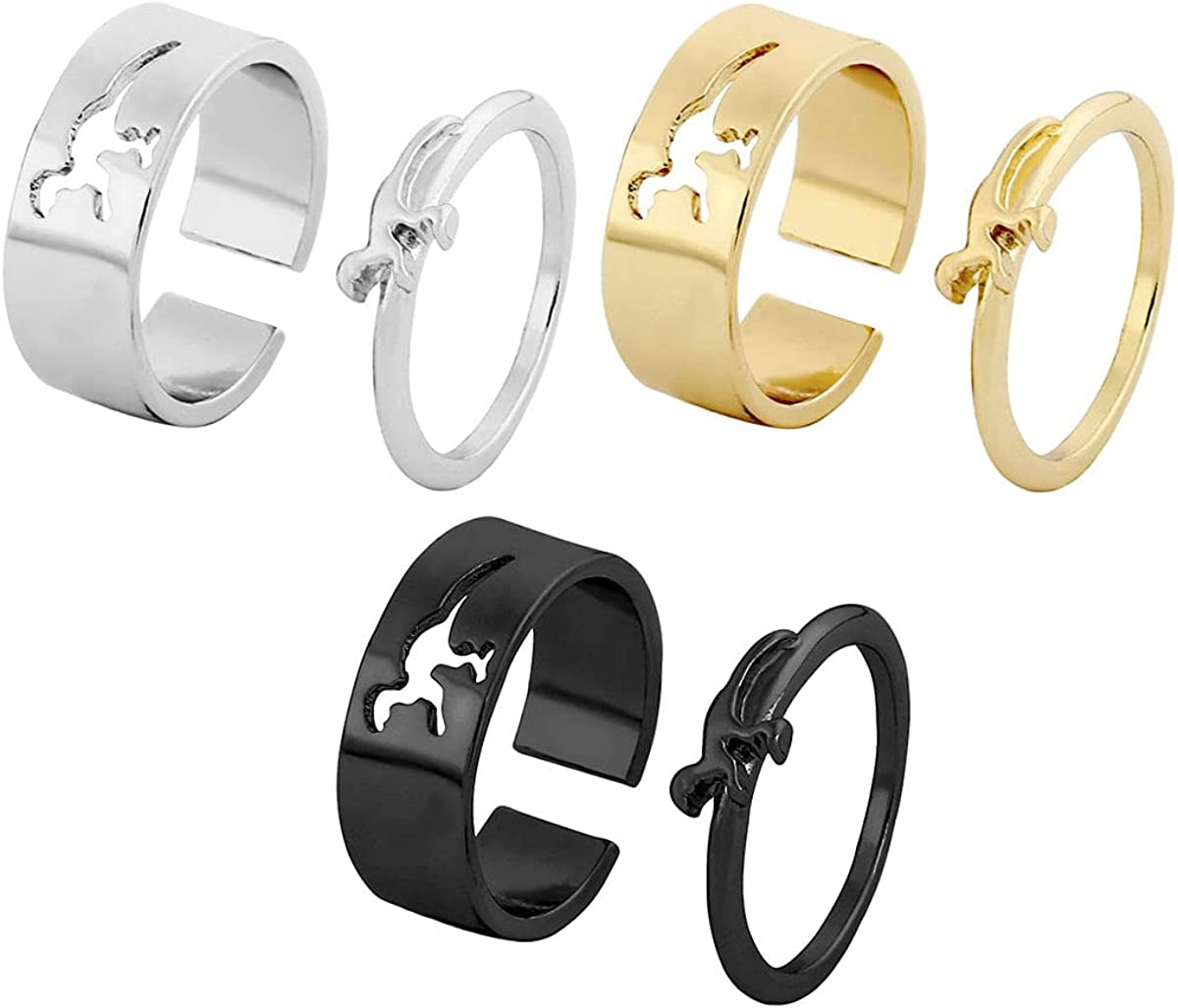 6 Pieces New color Matching Dinosaur Knuckle Purchase Set Couples Women for Rings