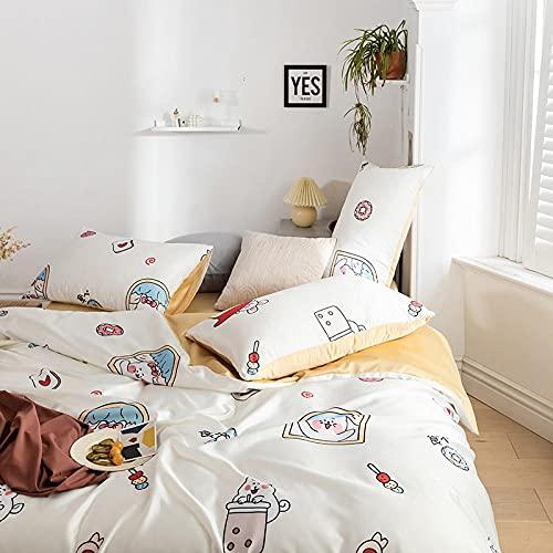 Bedding-LZ Juego de edredón Polar Doble,Conjunto de colchas de Seda Lavado Seda de Cuatro Piezas Ropa de Cama Skiper-Di_1.8m Cama -200x230cm