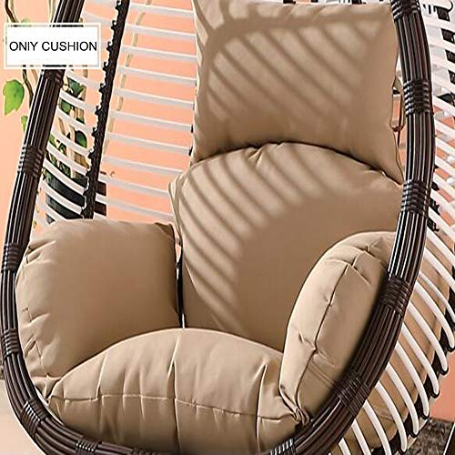 LOVEHOME Extra Large Swing Chair Cushion,Hanging Egg Rattan Chair Hammock Pad,with Pillow Patio Garden Wicker Solid Color Outdoor(Cushion Only)-Khaki 139130cm(55x51inch)