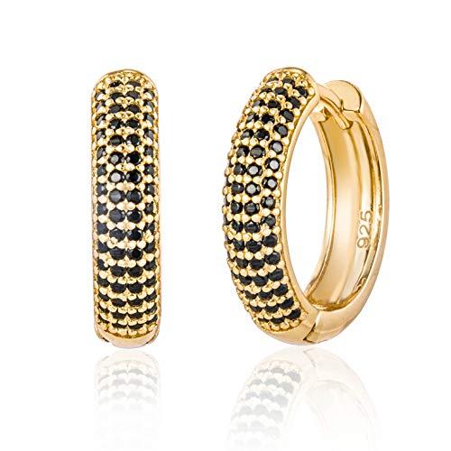 Brandlinger  Pendientes aros de plata de ley 925 bañada en oro de 18k con circonitas