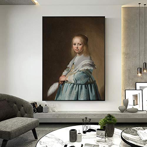 HUUDNHYK Arte en Lienzo Retrato de una niña Vestida con Pinturas Azules de Johannes Dutch Golden Age Impresiones artísticas para Sala de estar-50x90cm Sin Marco