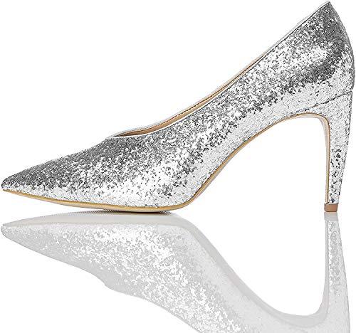 find. Damen Glitter Court Pumps, Silber (Silver), 38 EU