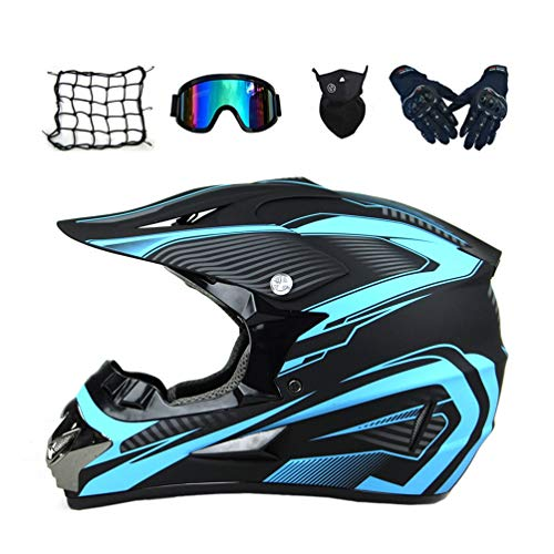 MRDEAR Motocross Helm Set (5 Stück/Schwarz und Blau) Cross Helm mit Handschuhe Brille Maske Motorrad Netz, Crosshelm Motorradhelm Off Road Downhill Helm ATV Dirt Bike Pocket Bike Helm,M
