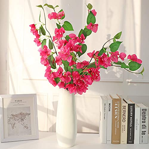 LSME 31 Inch Artificial Bougainvillea Flower Silk Bouquet Red with Long Stem for...