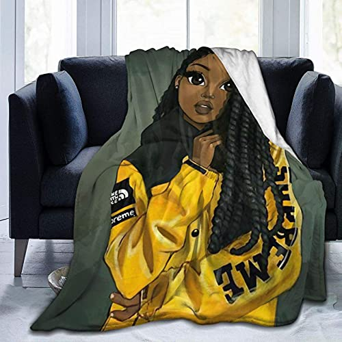 African Black Art Blanket African American Cool Girl in Yellow Jacket Throw Blanket Afro Black Girl Soft Cozy Plush Flannel Fleece Blanket for Couch Sofa Bedroom 40x50 Inch