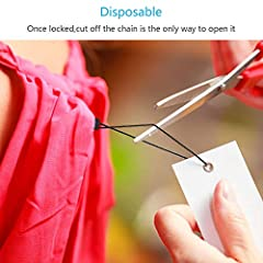 Hang Tag String,ZERHOK 1500pcs Disposable Black Price Nylon Hang Tag String with Snap Lock Pin for Clothes Brand Tag Price (Black) #3