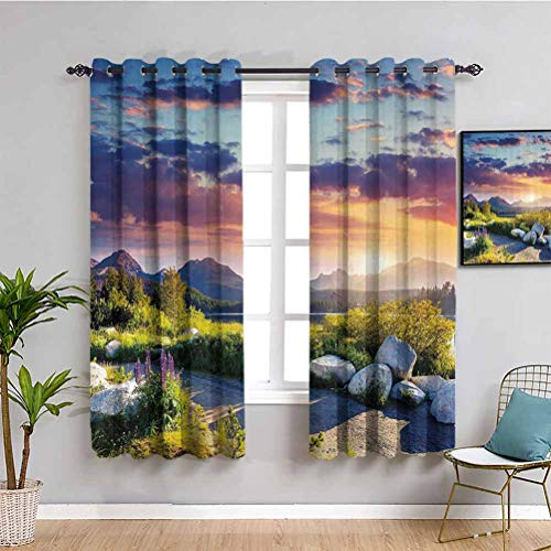 Nature Kitchen Curtain Idyllic Skyline in National Park on European Mountains Tranquil Scenery Daily use W72 x L63 Inch Fern Green Blue Lilac