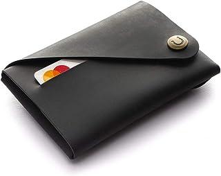 Minimalistische Ledermappe/Kartenhalter | Carbon Black Crazy Horse Typ Leder KartenhalterVintage Premium-Qualität Geldbörs...