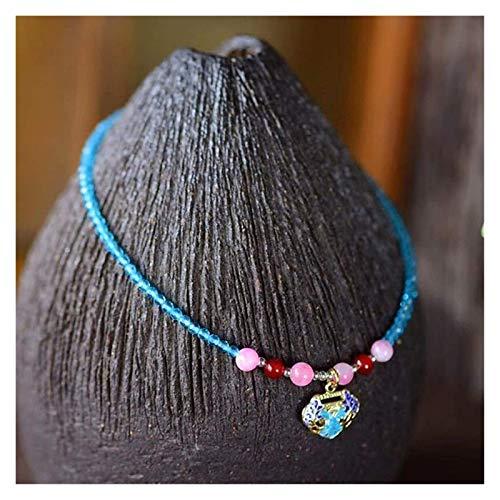 KEEBON Natural Blue Spinel Diamond Cut Perline Anklet for Donne 2mm Handmade Cloisonn Smalto Smalto Peace Blocco Regolabile Fascino Anklet Braccialetto Beach Foot Caviglia Regalo