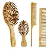 Spazzola per capelli, pettine in legno naturale ecologico Set Spazzola per pagaia in bambù per uomo Donna Bambini, riduzione del groviglio e rottura dei capelli, promozione della crescita dei capelli