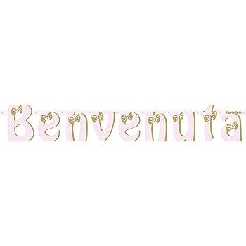 Party /& Co Coordinato tavola Nascita benvenuta Battesimo Femminile Set Piatti Bicchieri tovaglioli Candy Box Rosa e Oro Kit Festone Benvenuta