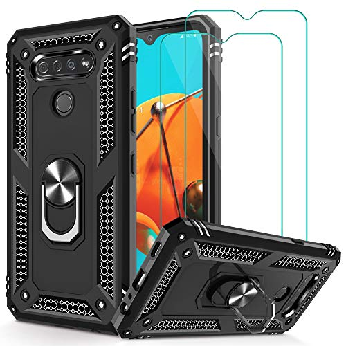 K51 Case, Q51 Case,Reflect Case with Tempered Glass Screen Protector [2Pack], Jshru Military Grade Protective Phone Case with Ring Car Mount Kickstand for K51 / Q51 Black