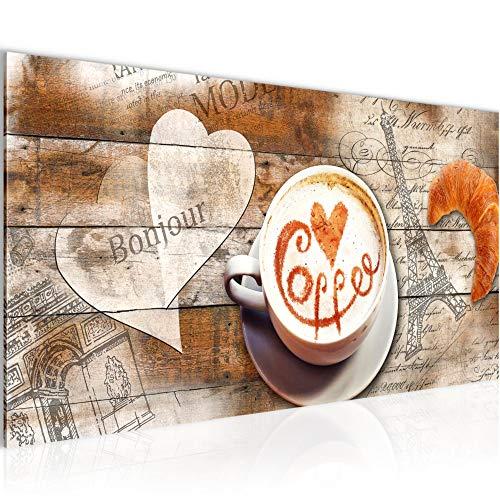 Wandbilder Kaffee Küche Modern Vlies Leinwand Wohnzimmer Flur Kaffeetasse Holz Beige Braun 012812a