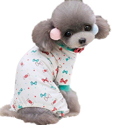 Wodery Animaux Dog pyjama en coton pyjama de chien Vêtements Manteau à capuche Jumpsuit Manteaux de Cat Puppy Dog Pet Hiver, XS/S/M/L