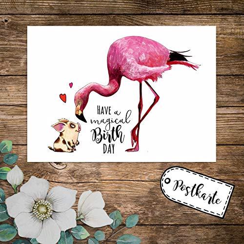 ilka parey wandtattoo-welt A6 Geburtstagskarte Postkarte Geburtstag Print Flamingo & Schweinchen mit Spruch Have a Magical Birthday pk232 - ausgewählte Menge: *1 Stück*
